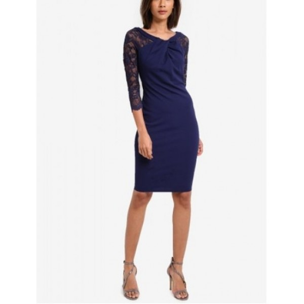 Κομψό μιντι σκούρο μπλε φόρεμα