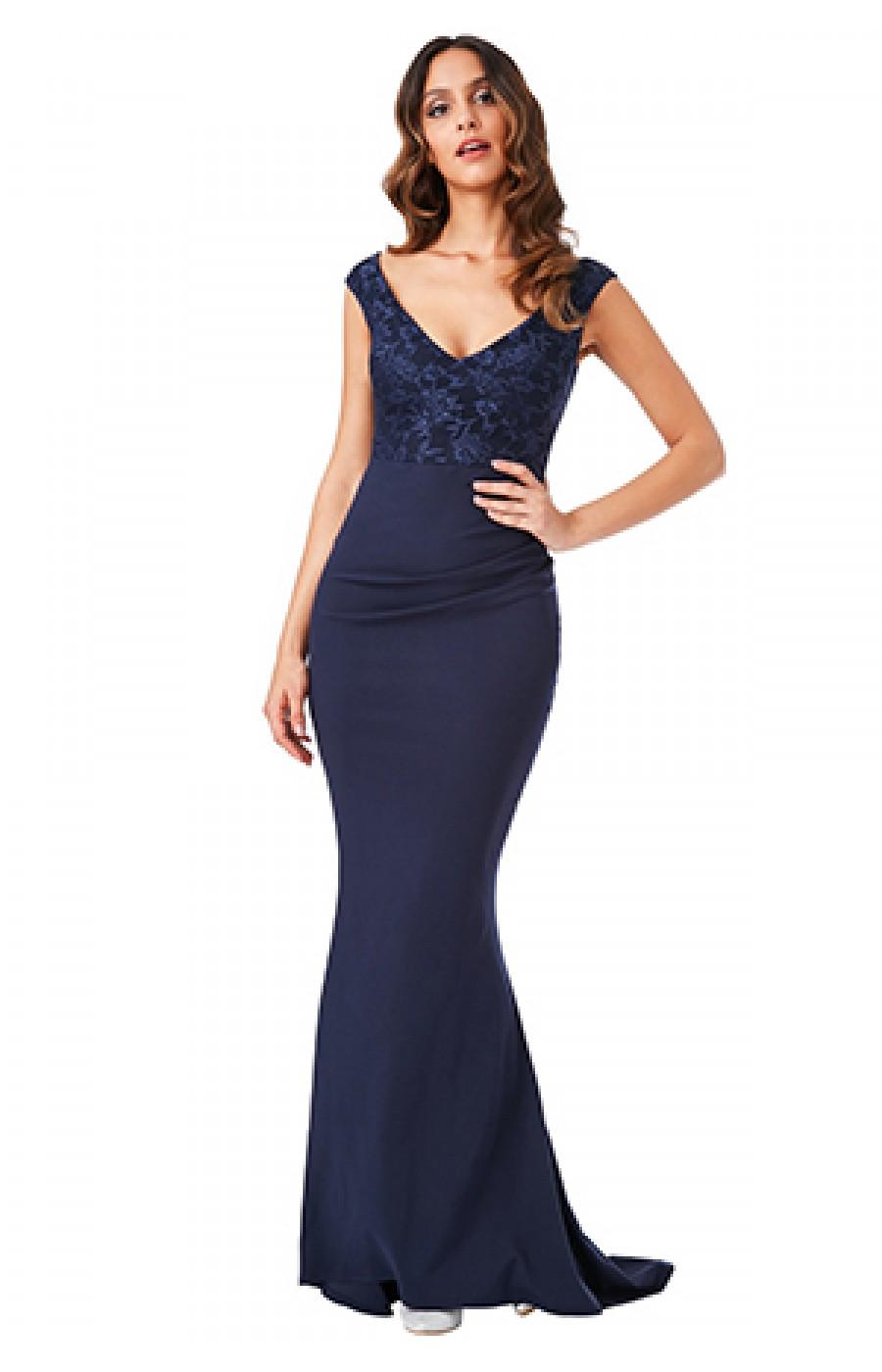 Επίσημο μακρύ μπλέ σκούρο φόρεμα