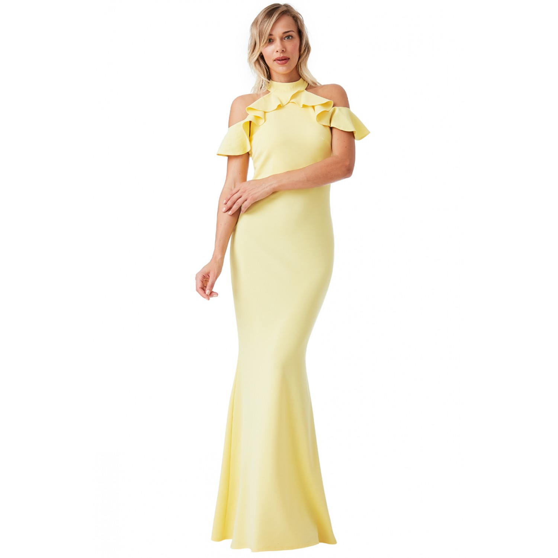 c39f09bdfc7e Μακρύ κίτρινο φόρεμα με λεπτομέρεια στους ώμους