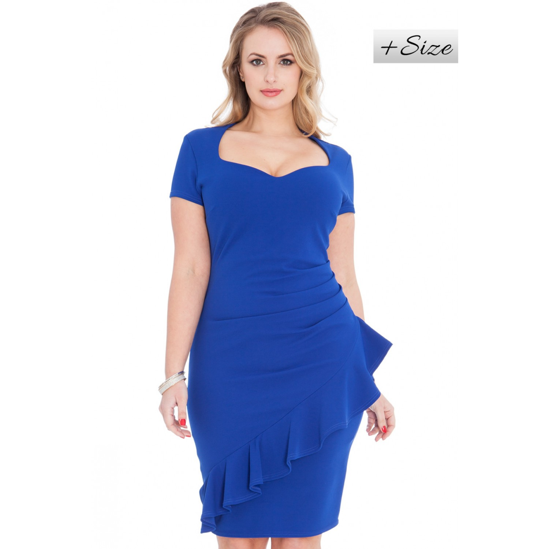 2a57a6f837ce Μιντι μπλέ φόρεμα με κοντό μανίκι