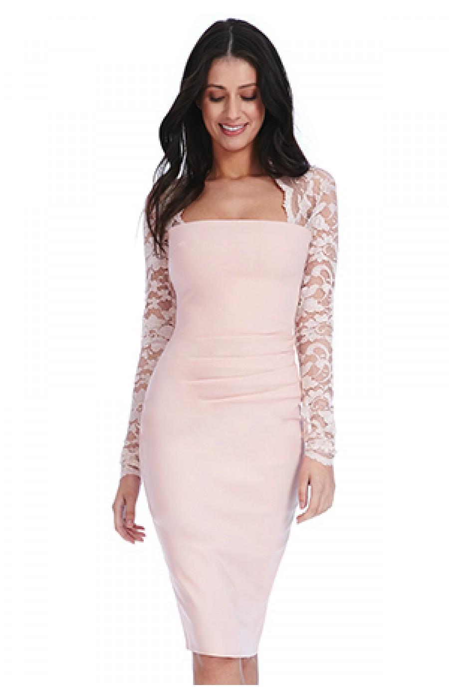 Μπεζ μίντι φόρεμα με δαντελένια μανίκια