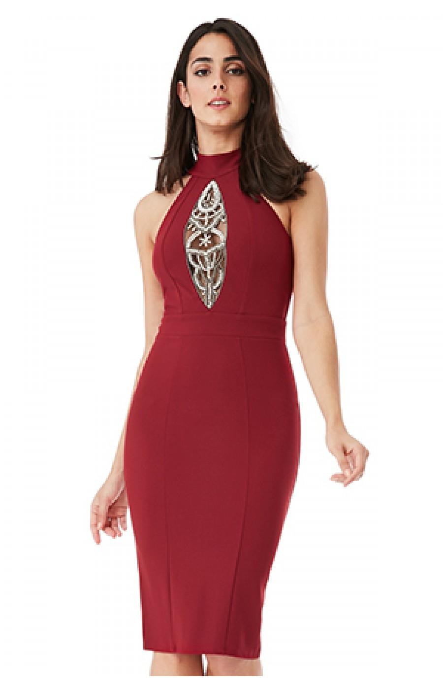 dc3165463e07 Μίντι μπορντω φόρεμα με κεντημα και διαφάνεια μπροστά