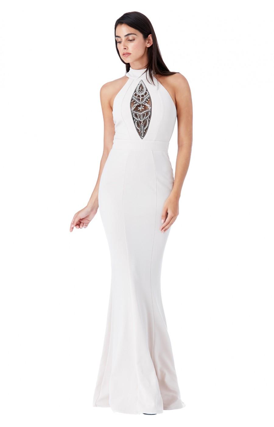 Μακρύ μπέζ φόρεμα με κέντημα στο μπροστά μέρος