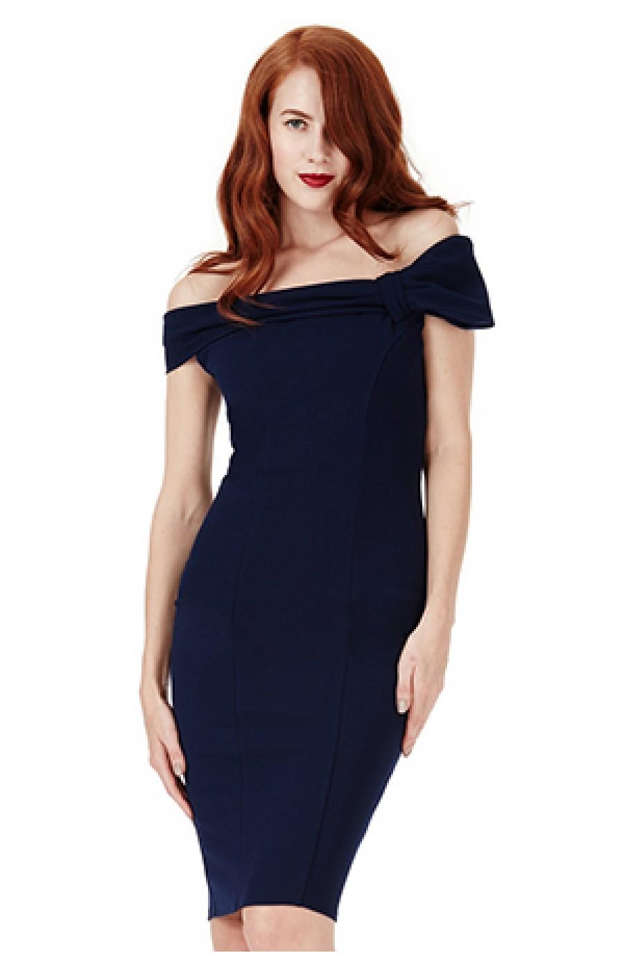 Μίντι σκούρο μπλέ φόρεμα με λεπτομέρεια φιόγκο μπροστά