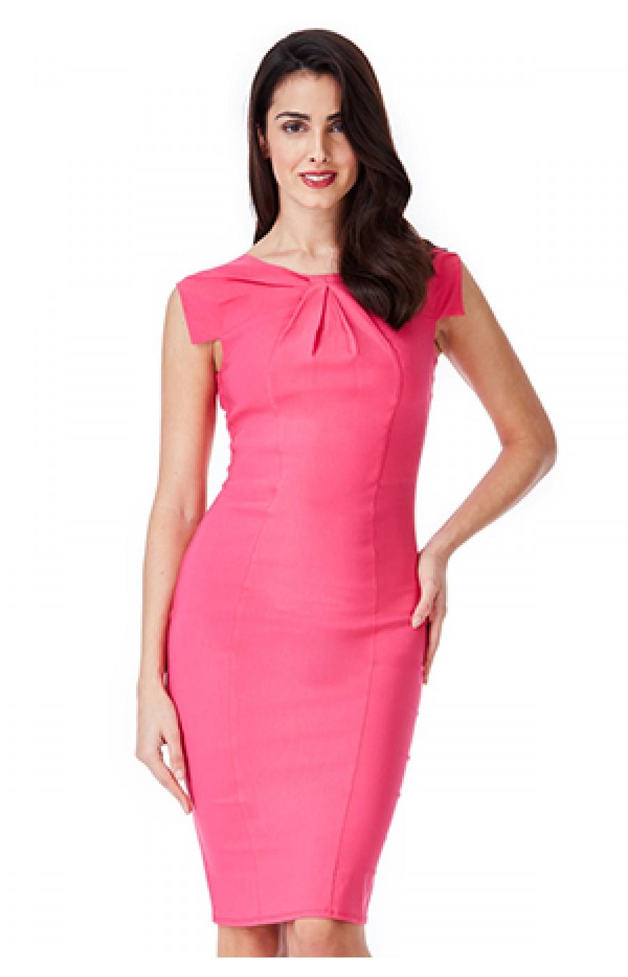 Εφαρμοστό μιντι φόρεμα με κοφτό μανικάκι