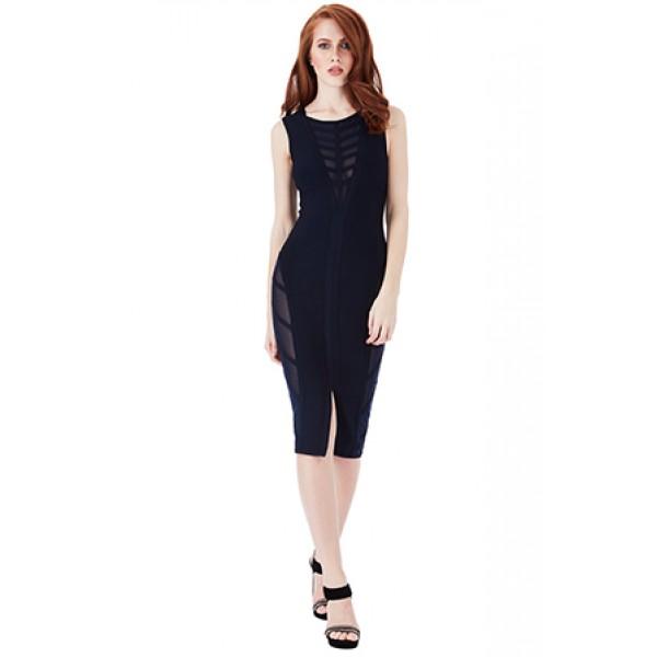 Bandage φόρεμα σκούρο μπλε με διαφάνειες και σκίσιμο μπροστά ΝΟΥΜΕΡΟ L-UK12