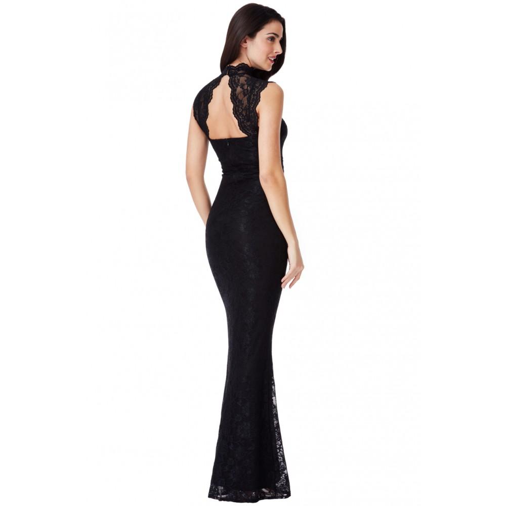 bf8a12a872f6 Μακρύ μαυρό δαντελένιο φόρεμα