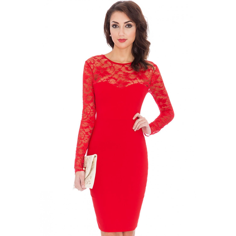 0bd5a42cfda7 Κόκκινο φόρεμα με μακρύ μανικάκι από δαντέλα