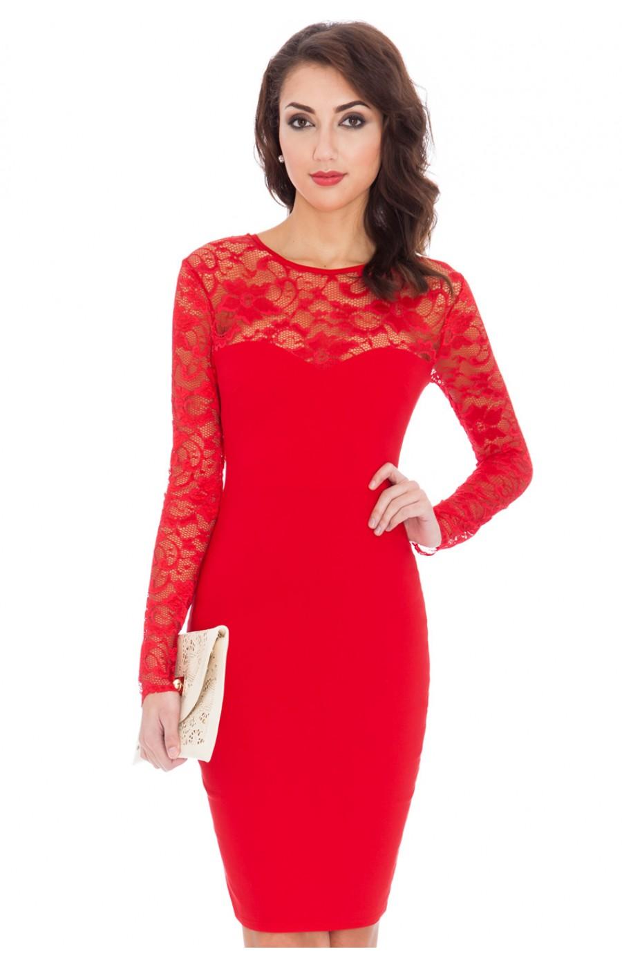 Κόκκινο φόρεμα με μακρύ μανικάκι από δαντέλα