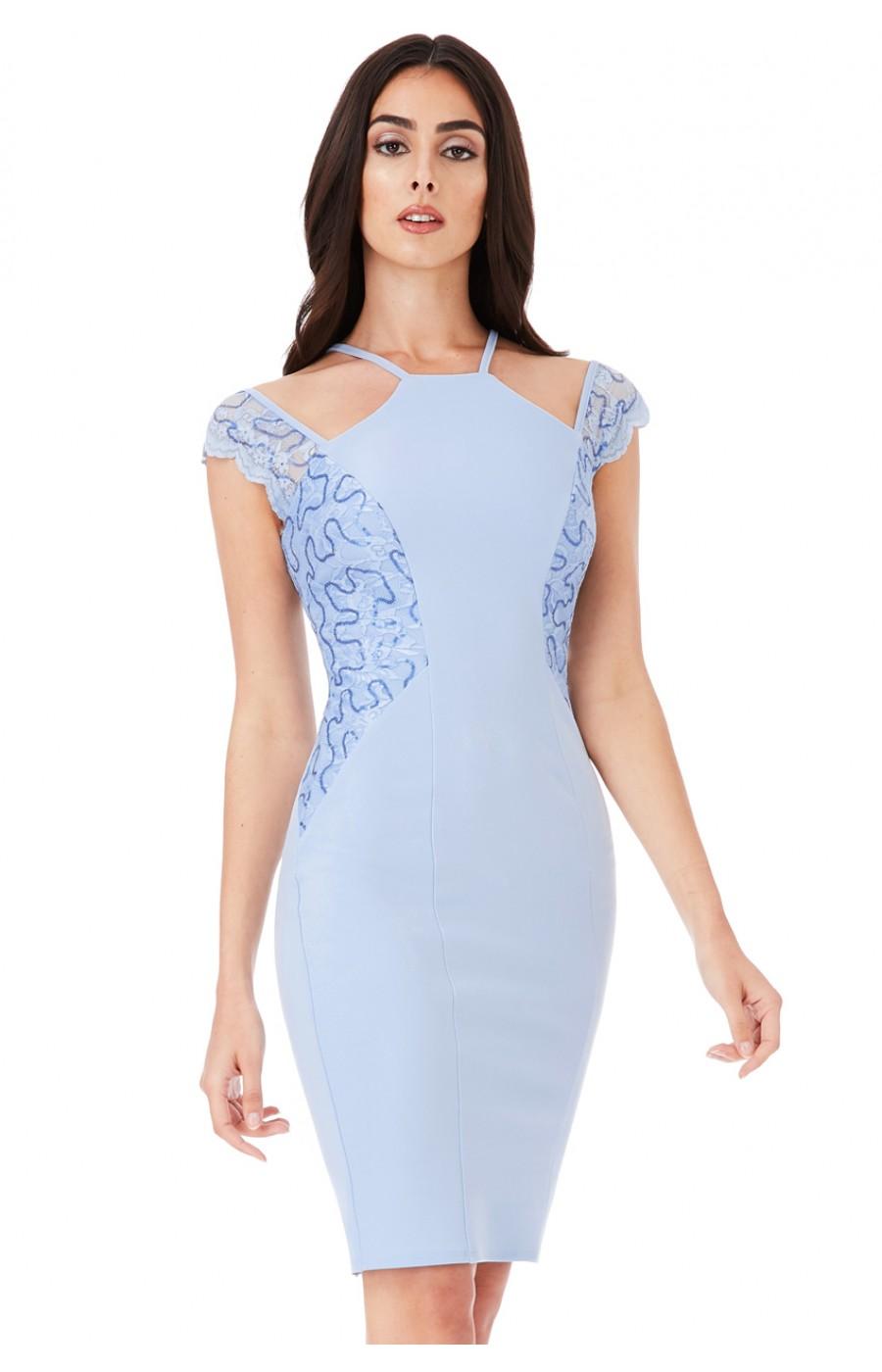 Γαλάζιο μιντι επισημο φορεμα με λεπτομερεια δαντελα