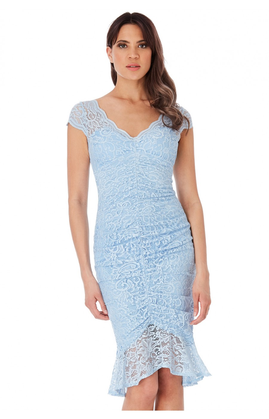 Γαλάζιο μιντι φόρεμα απο μαλακη ελαστικη δαντέλα