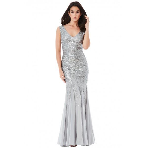 Ασημί μακρύ φόρεμα με παγιέτες και σιφόν