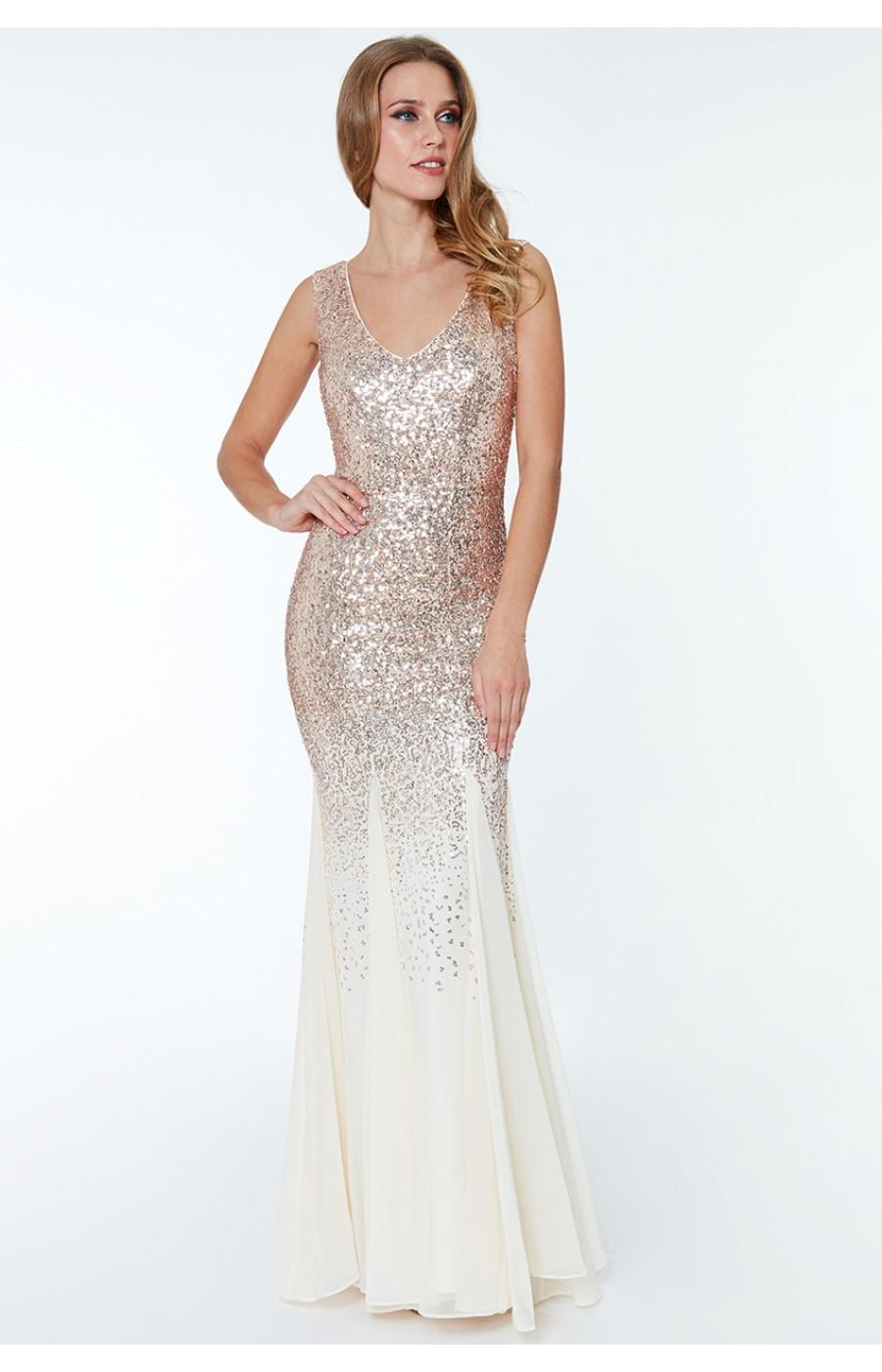 Επίσημο σαμπανί φόρεμα με παγιετες και σιφόν