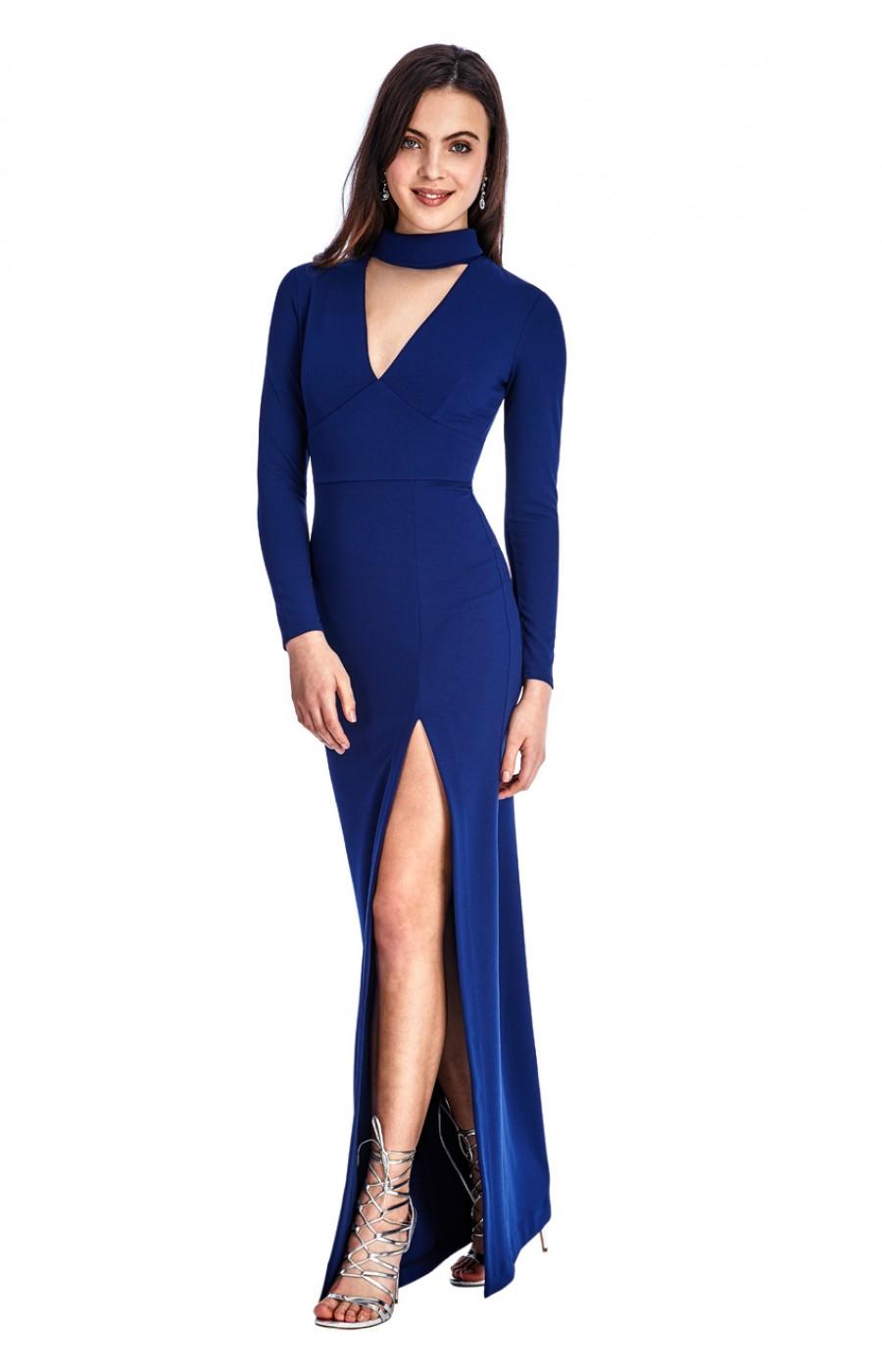Μπλε μακρύ φόρεμα με βαθύ σκισιμο και τσοκερ