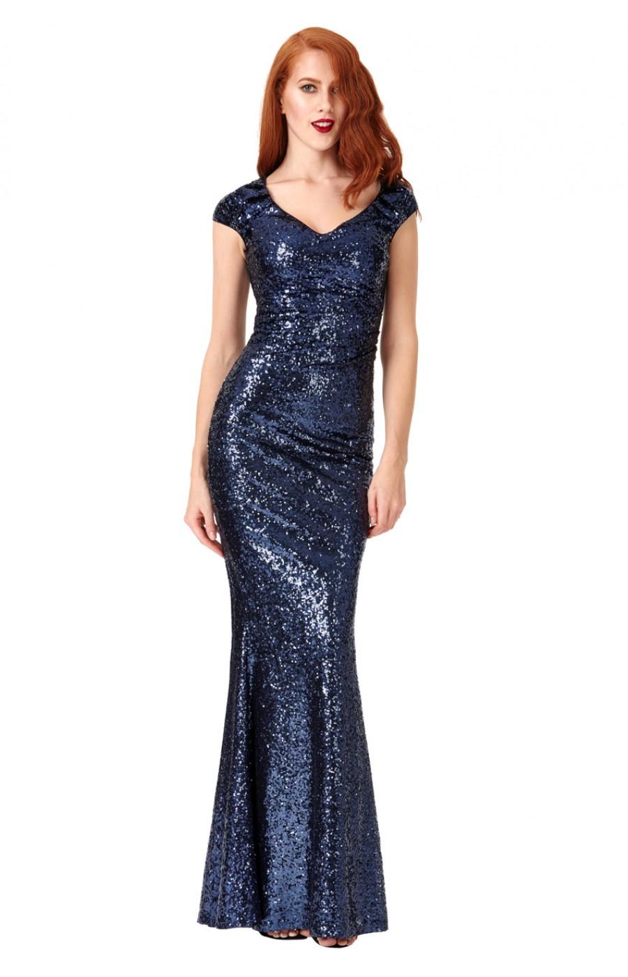 Μακρύ μπλε φόρεμα με πούλιες