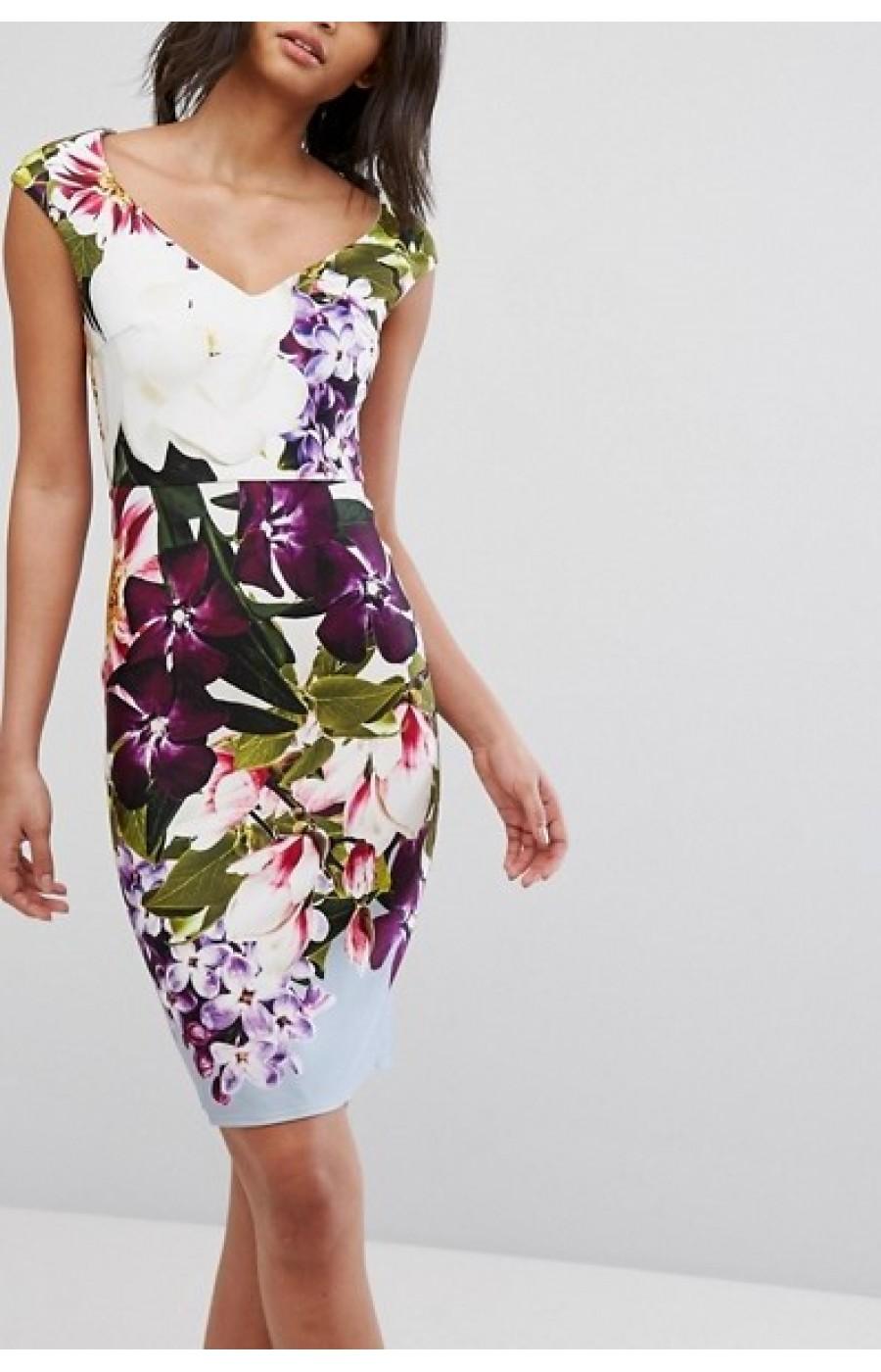 Φλοράλ μίντι φόρεμα