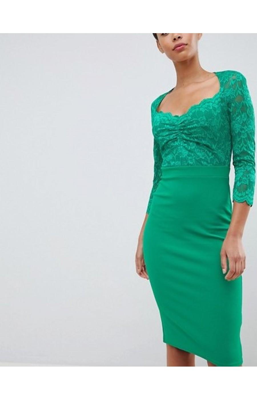 Πράσινο μιντι φόρεμ με λεπτομερεια απο δαντελα