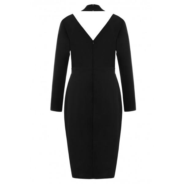 Μαύρο μιντι κρεπ φόρεμα με στρας ΜΕΓΑΛΑ ΜΕΓΕΘΗ