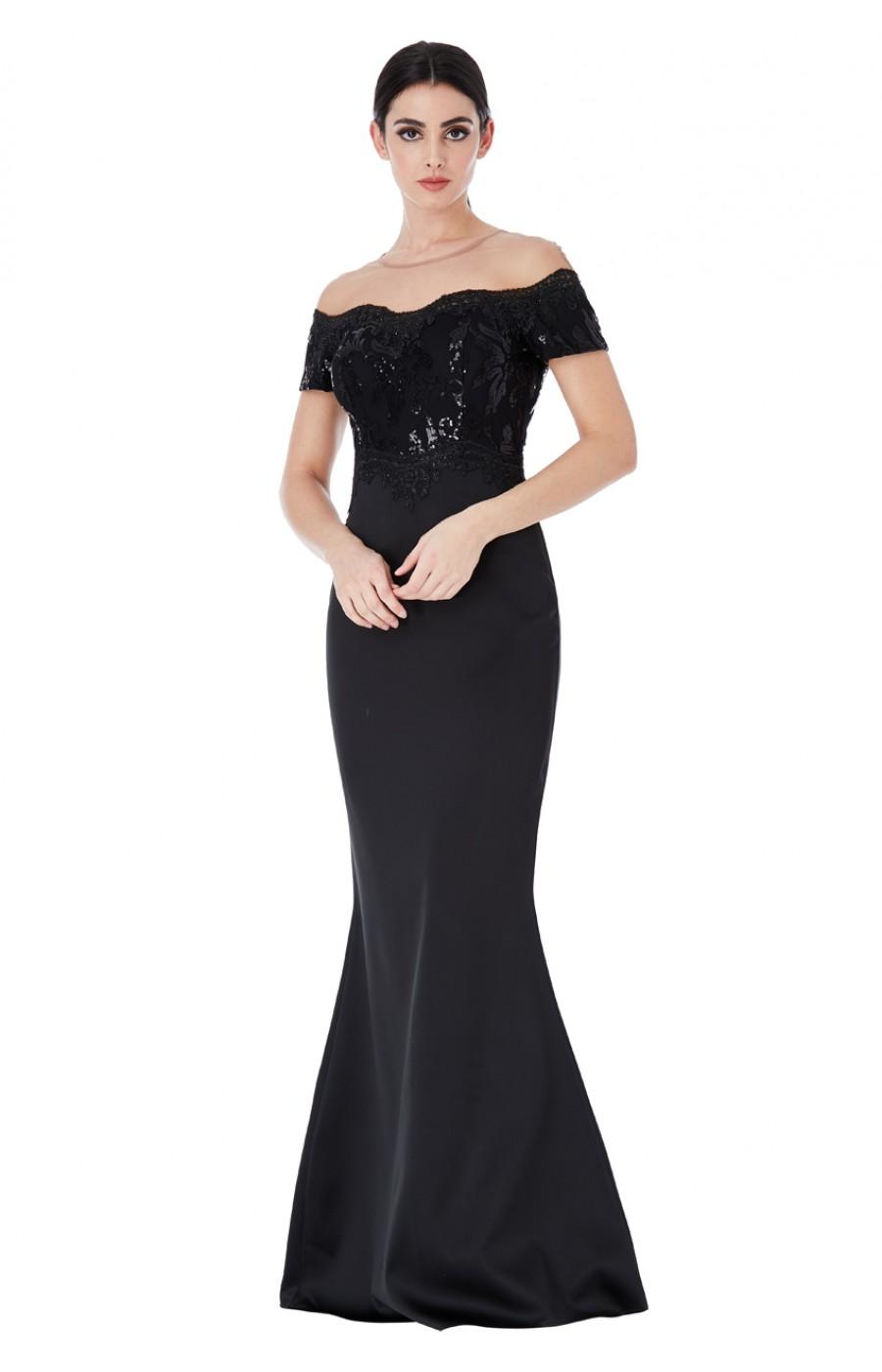 Επίσημο μακρύ μαύρο φόρεμα