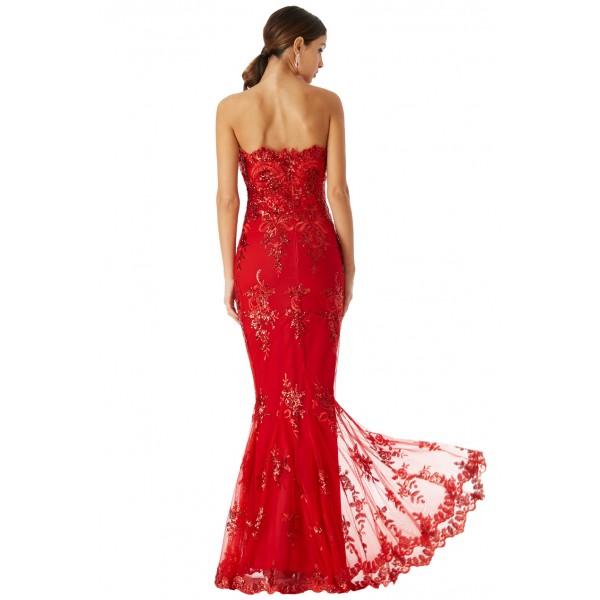 Κόκκινο μαξι φόρεμα με δαντελα ΝΟΥΜΕΡΟ M-UK10