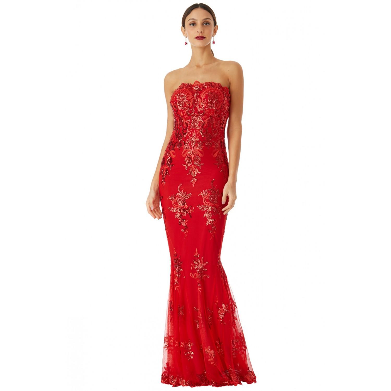 aee3073ce94f Κόκκινο μαξι φόρεμα με δαντελα