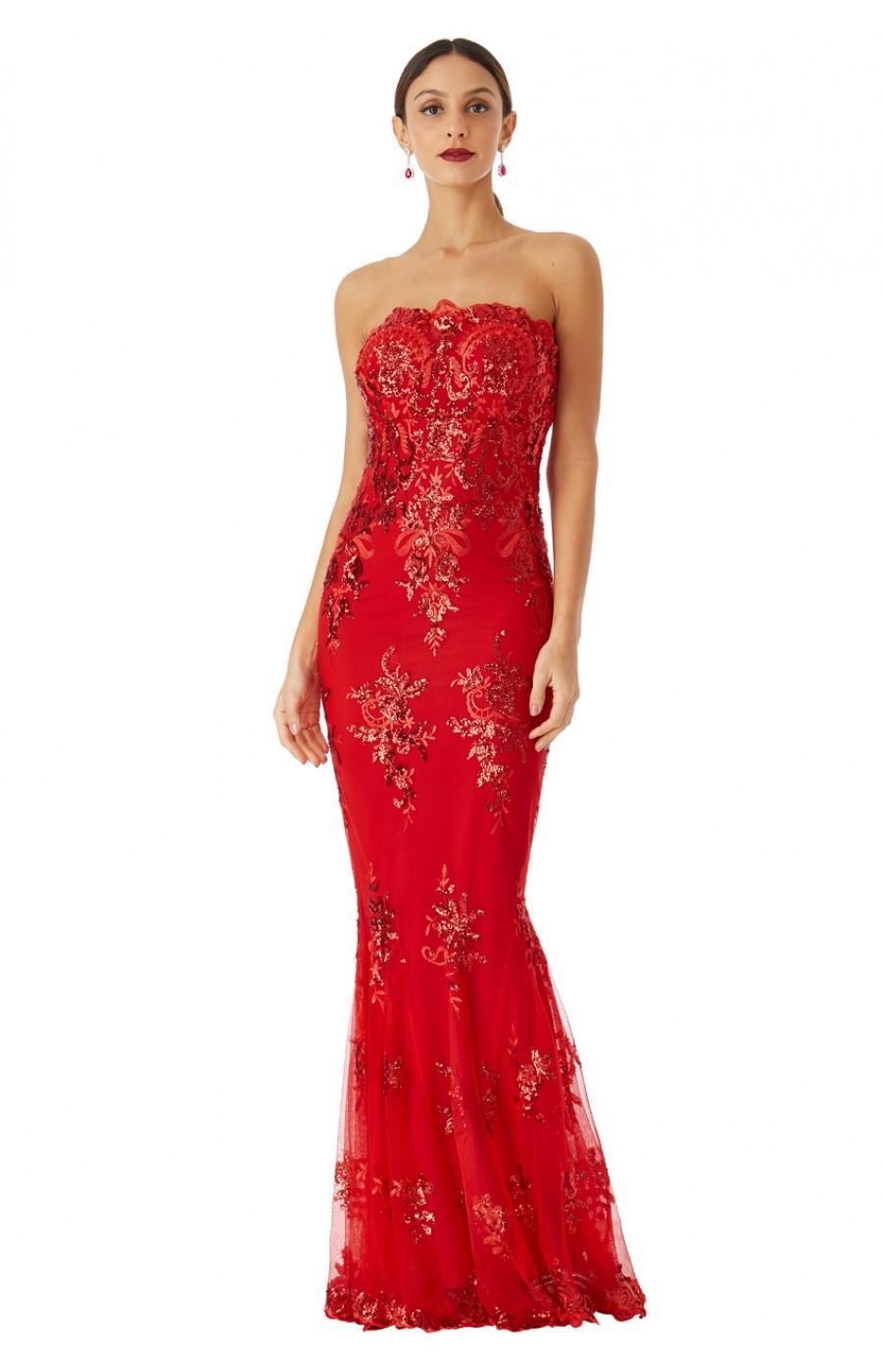 Κόκκινο μαξι φόρεμα με δαντελα