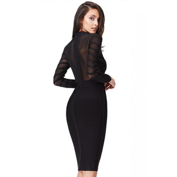 Μαύρο λαστιχωτό φόρεμα με διαφάνειες ΝΟΥΜΕΡΟ M-UK10
