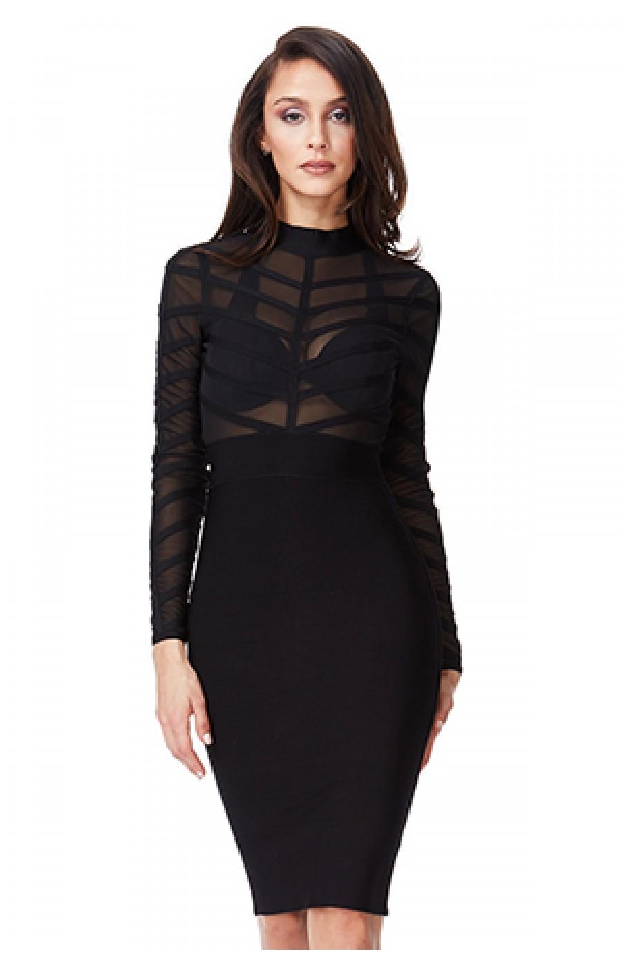 Μαύρο λαστιχωτό φόρεμα με διαφάνειες