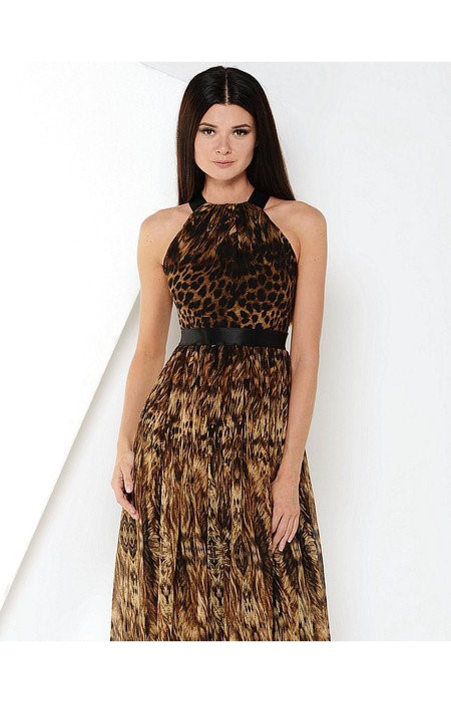 Λεοπάρ μακρυ φόρεμα με ανοικτή πλάτη
