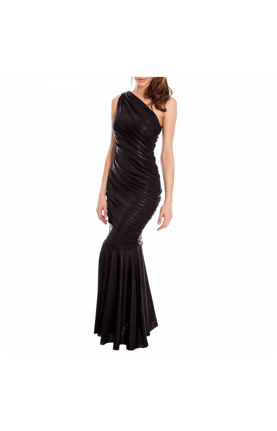 Επίσημο μαυρο φόρεμα με έναν ώμο