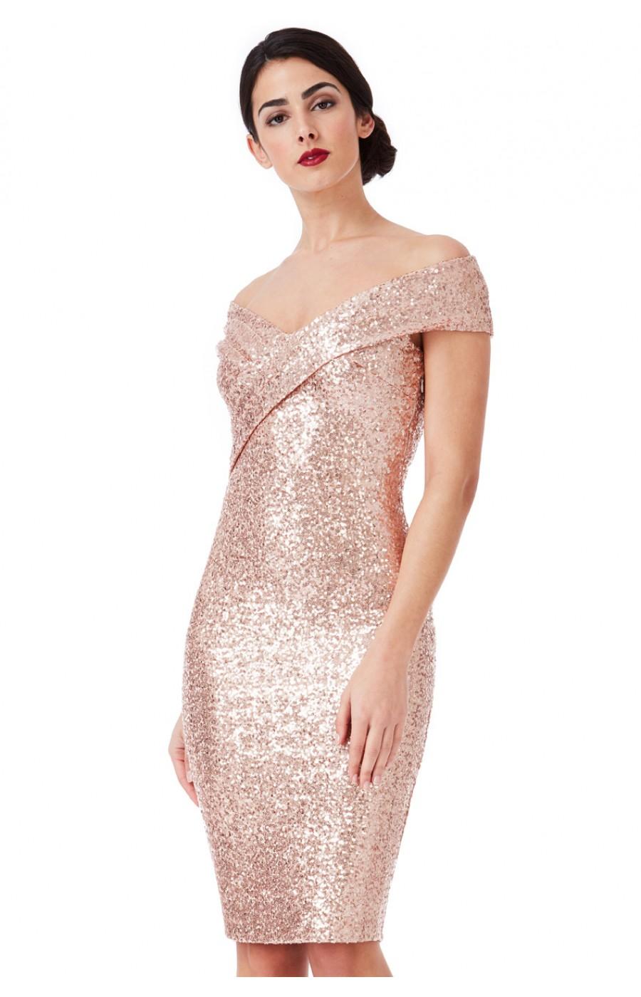 Ροζ-χρυσό μίντι φόρεμα με παγιετες