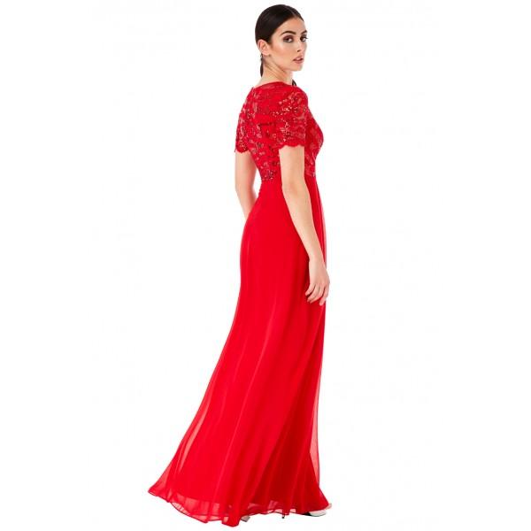 Αέρινο κόκκινο φόρεμα με κοντό μανικάκι