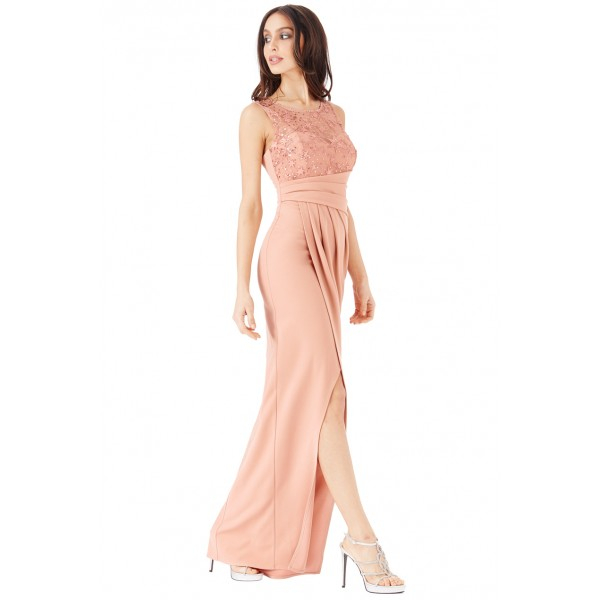 Nude φόρεμα με σκίσιμο μπροστά και λεπτομέρειες από αστέρια