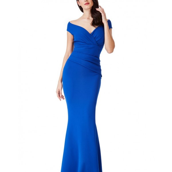 Επίσημο μακρύ μπλε εφαρμοστό φόρεμα