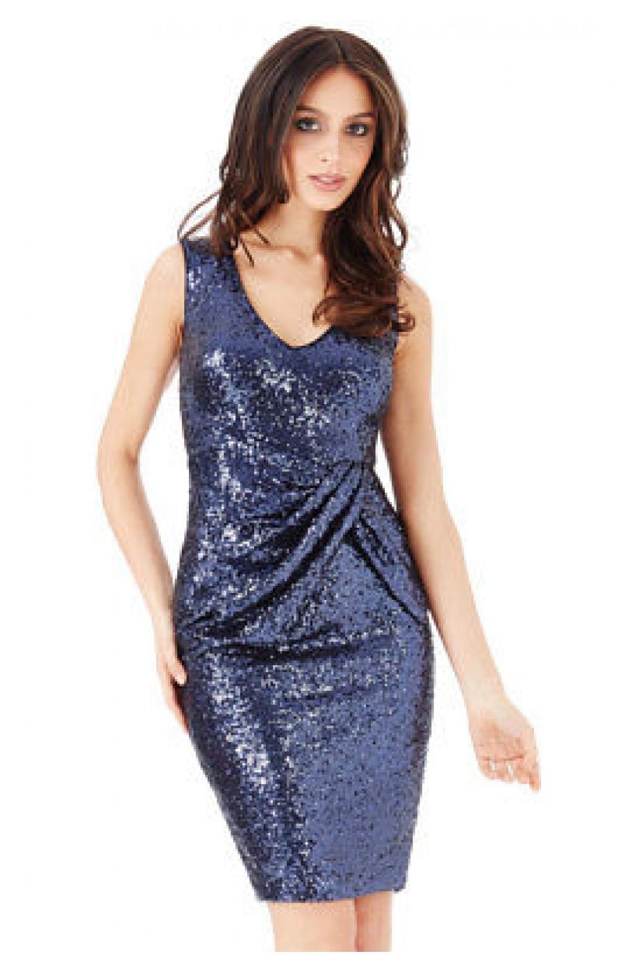 Επίσημο μπλε φόρεμα με παγιετες