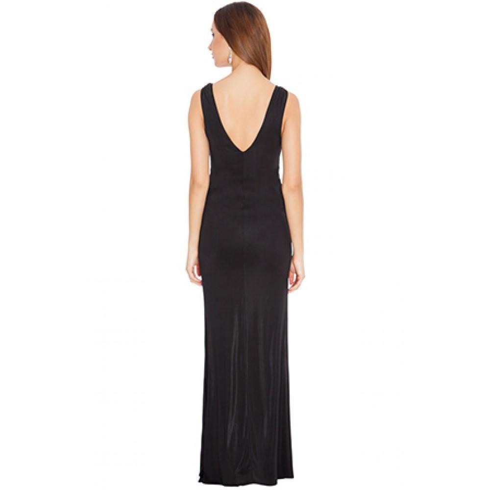 aea9f044635a Μακρύ μαύρο ελαστικο φόρεμα με ασημένιες λεπτομέρειες