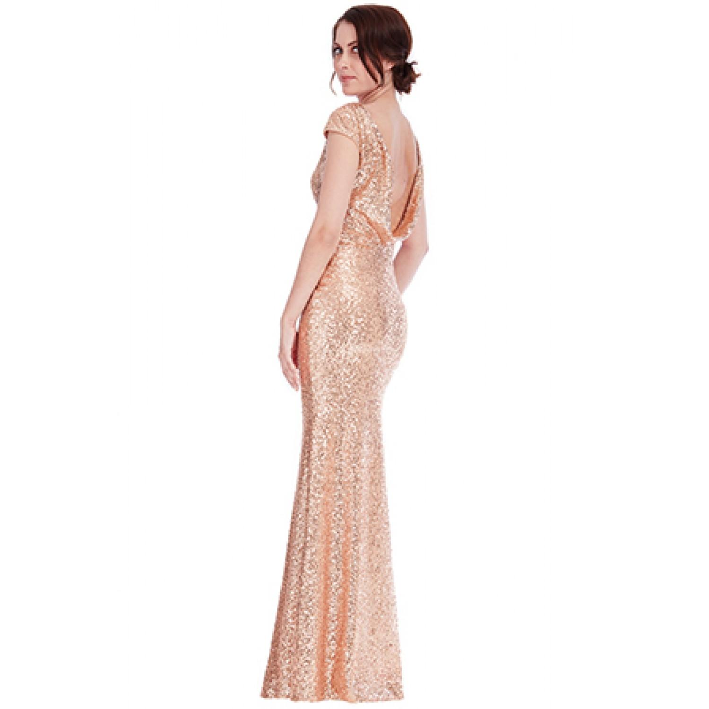 48c6515635c3 Μακρύ φόρεμα ροζ χρυσό με πούλιες και ανοικτή πλάτη