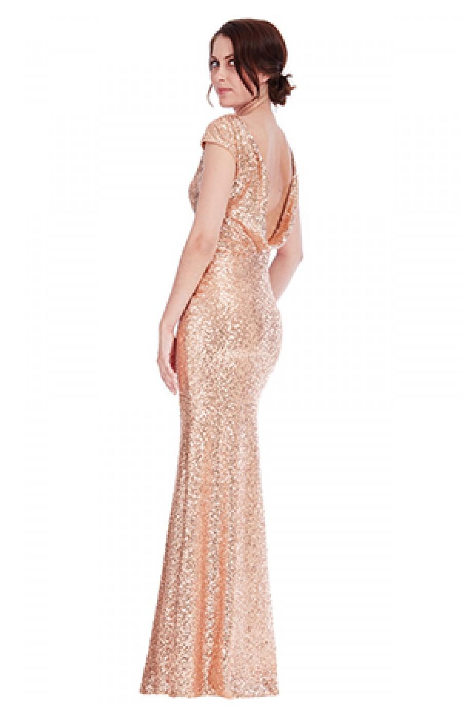 Μακρύ φόρεμα ροζ χρυσό με πούλιες  και ανοικτή πλάτη