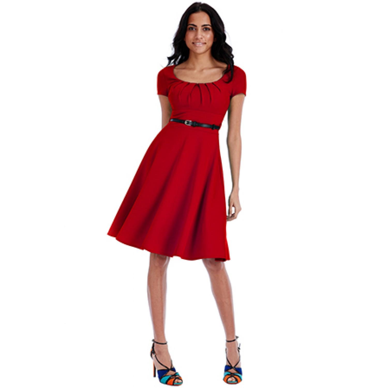 ea3af2017be2 Κόκκινο Μίντι φόρεμα με ζωνάκι
