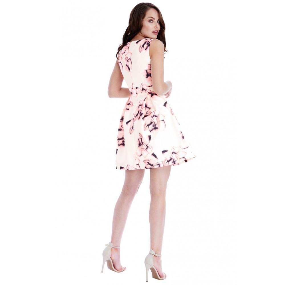 Κοντο μπεζ φόρεμα με ροζ λουλουδια b40466bb75f