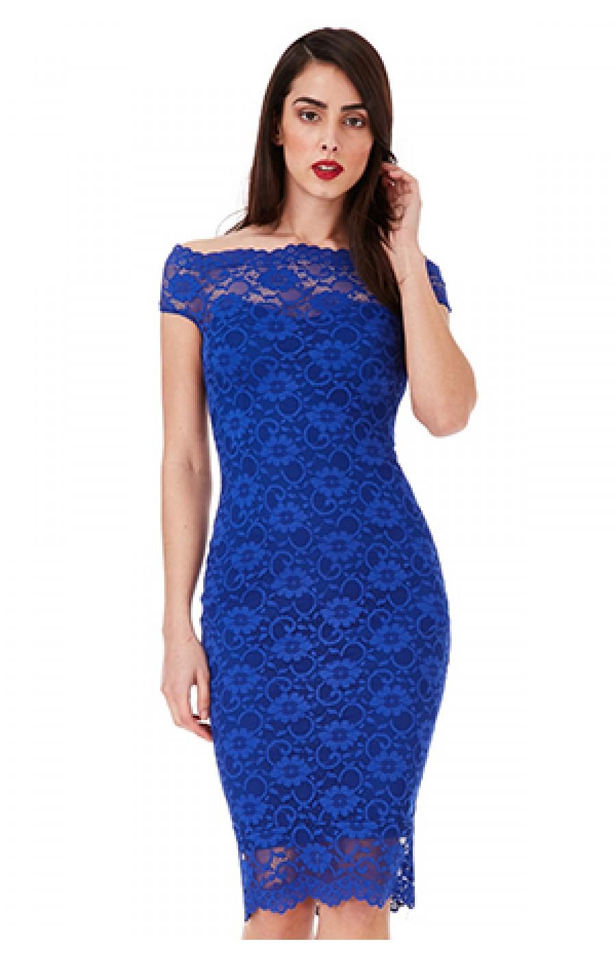 Φορεμα μπλε με δαντελα