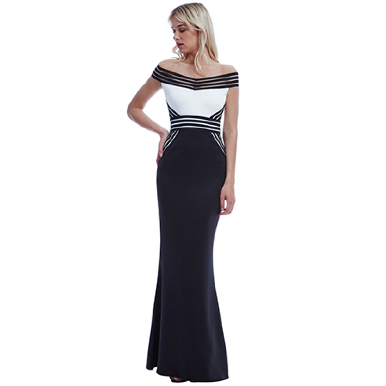52399899db6a Φόρεμα μακρύ ασπρο μαύρο με λεπτομέρειες από λάστιχο