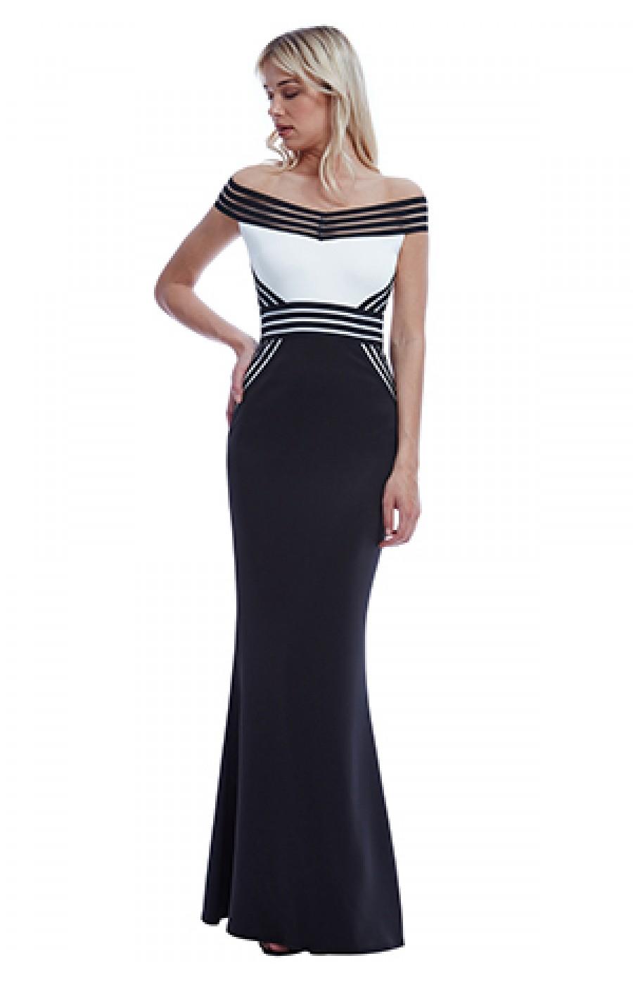Φόρεμα μακρύ ασπρο μαύρο με λεπτομέρειες από λάστιχο d56bc7f6763