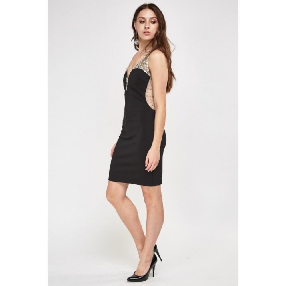 8f0cf4fd418d Μαυρο κοντο φορεμα με διαφανεια και κεντημενα στρας