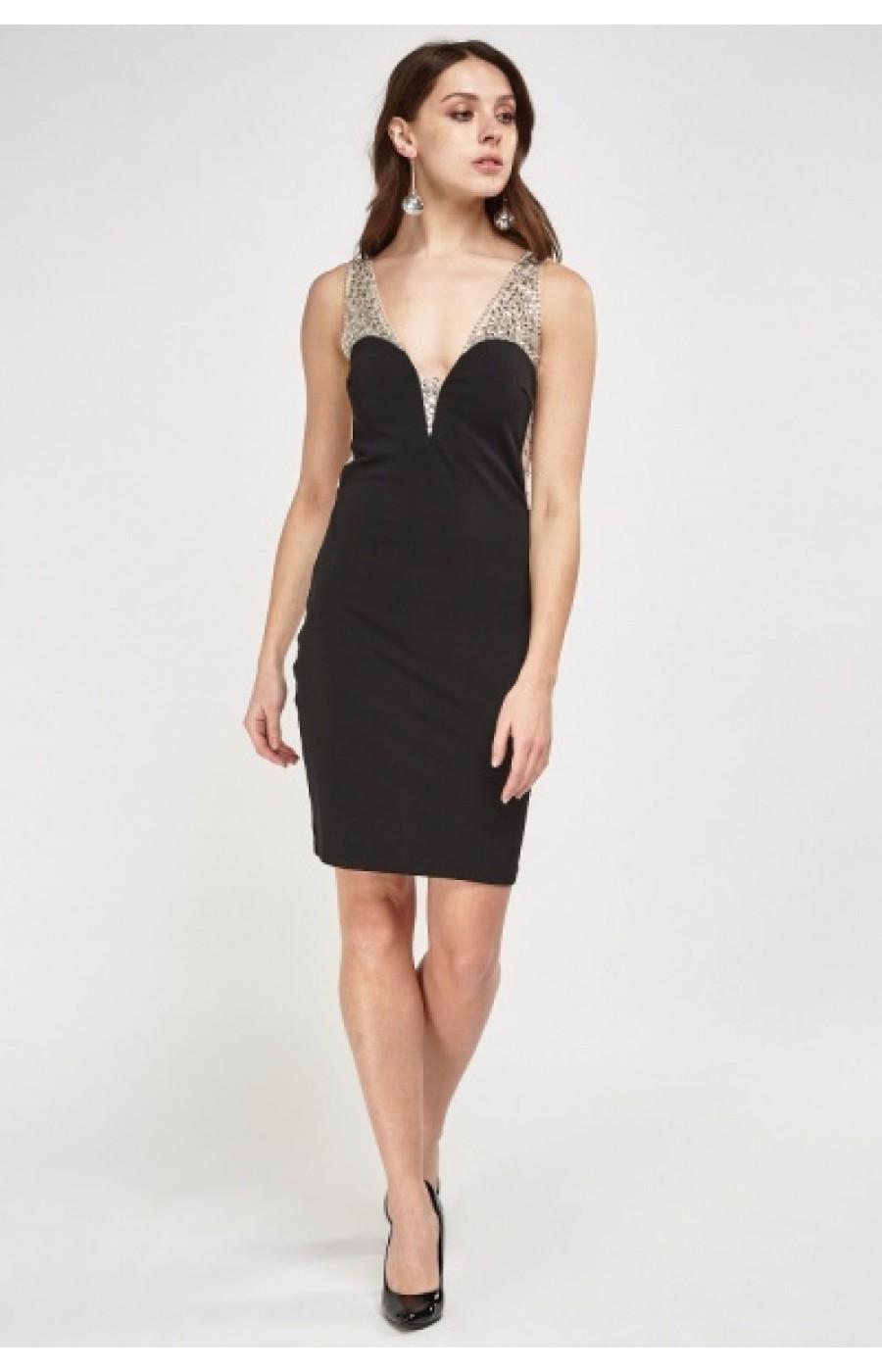 34e7fa4b2057 Μαυρο κοντο φορεμα με διαφανεια και κεντημενα στρας