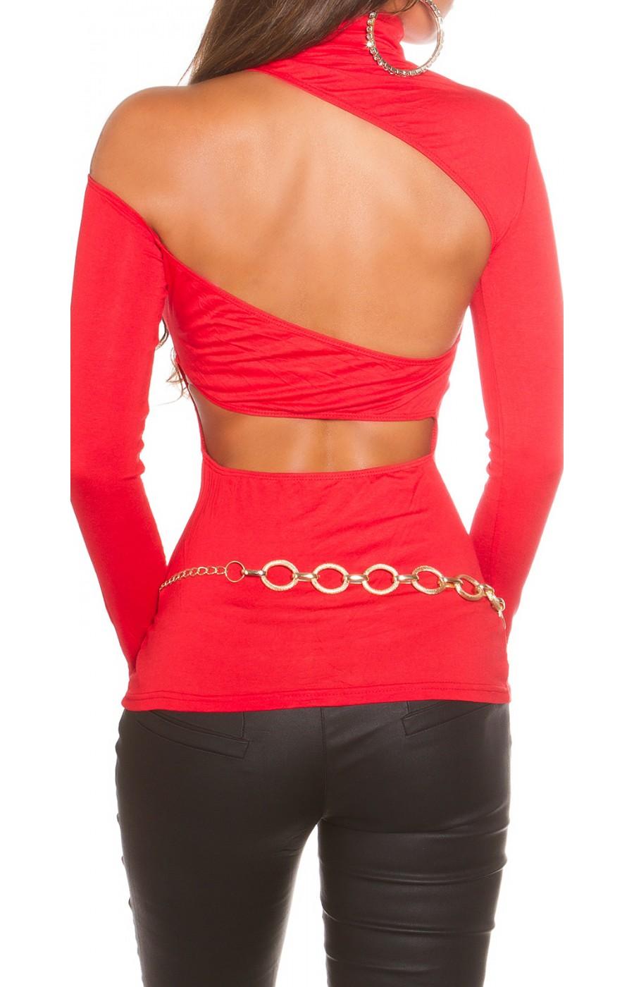 Μπλουζα με ανοικτη πλατη One size κόκκινη