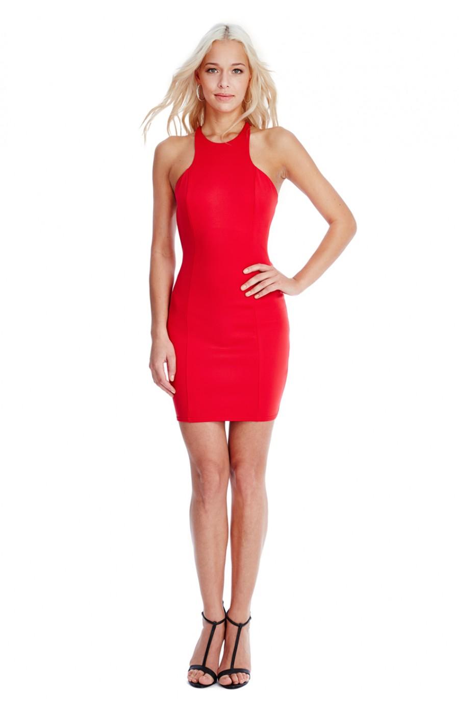 Κοντο κοκκινο φορεμα με ανοικτη πλατη, και φιογκο πισω