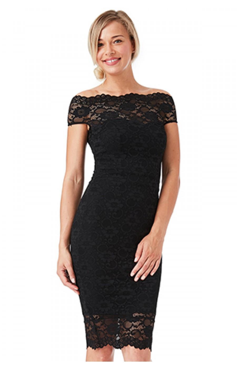 Μαυρο κοντο φορεμα με δαντελα
