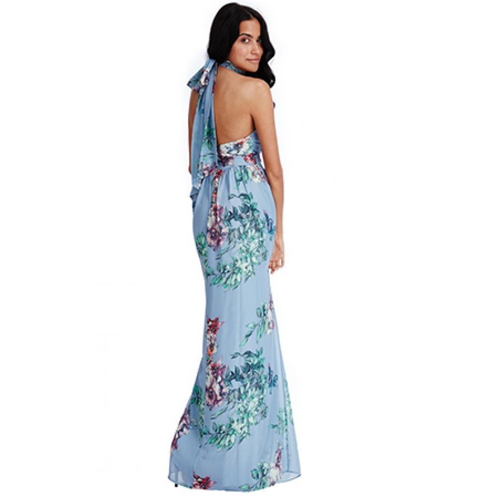 439eb8e964ea Μακρυ φλοραλ γαλαζιο φορεμα