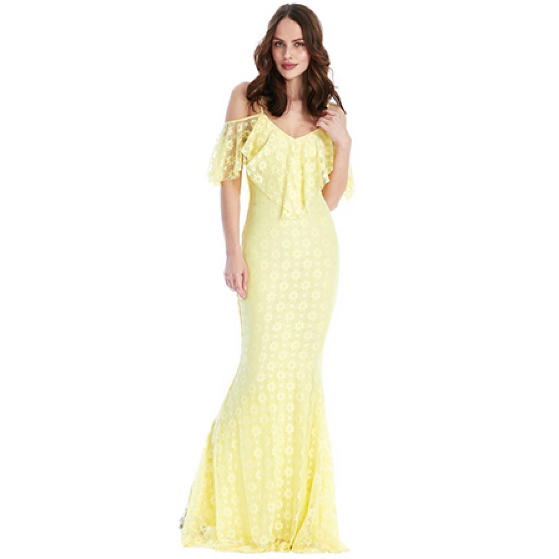 9c59ea28befb Μακρυ κιτρινο φορεμα με δαντελα